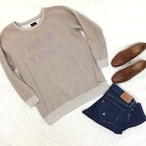 American Eagle Tan Pullover New York Sweatshirt